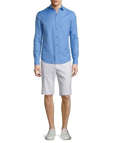 Vince Linen-Blend Long-Sleeve Sport Shirt, French Blue