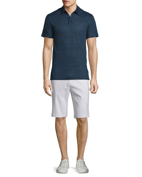 Vince Feeder-Stripe Short-Sleeve Polo Shirt, Twilight Blue