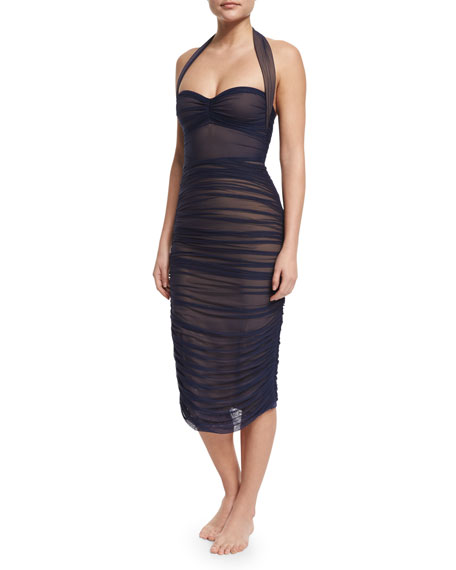 Norma Kamali Ruched Mid-Calf Coverup Skirt