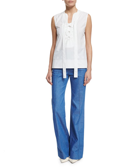 Derek Lam Sleeveless Lace-Up Blouse, White