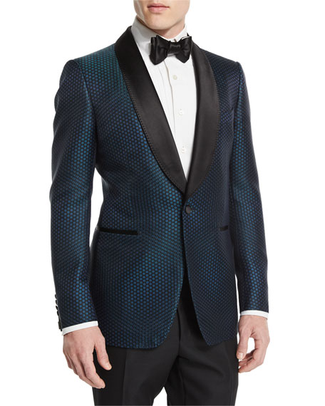 TOM FORD Buckley-Base Mesh-Print Tuxedo Jacket, Green/Black