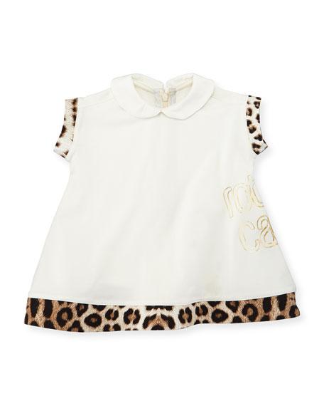 Roberto Cavalli Leopard-Trim Collared Shift Dress, White, Size