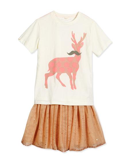 Stella McCartney Arlo Polka-Dot Mustache Deer Jersey Tee,