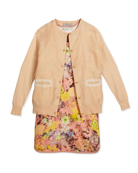 Stella McCartney Georgia Silk Button-Front Cardigan, Pink, Size