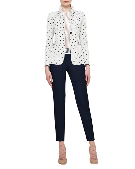 Akris punto Big-Dot One-Button Blazer, Cream/Navy