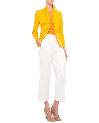 Long-Sleeve One-Button Blazer, Short-Sleeve Skinny-Striped T-Shirt & Pleated-Front Wide-Leg Cropped Pants