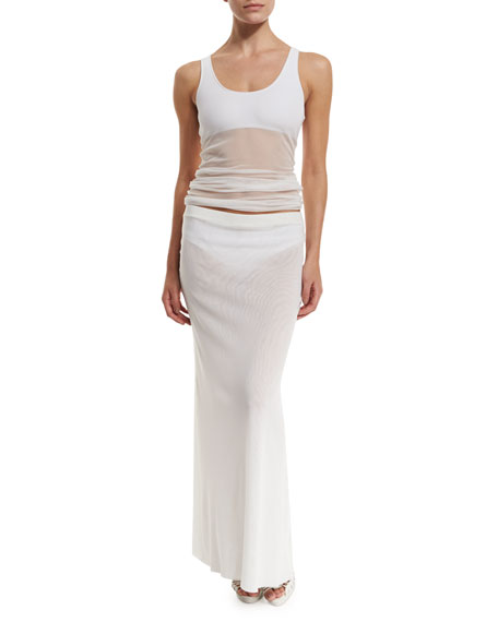 Fuzzi Long Solid Coverup Skirt, White