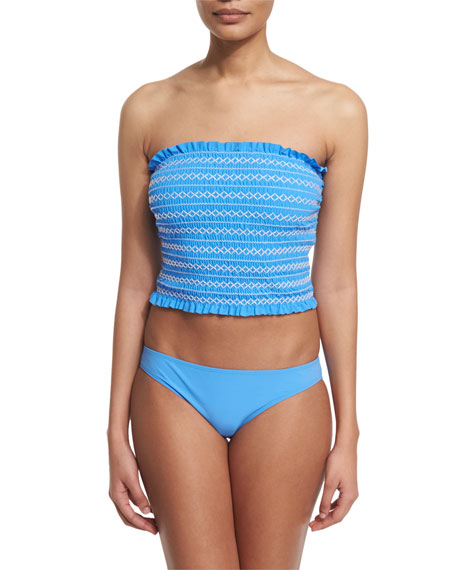Tory Burch Costa Shirred Bandeau Tankini Swim Top