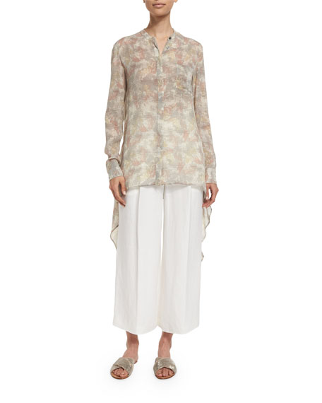 Maiyet Long-Sleeve Button-Front Silk Caftan Shirt, Mirage Print