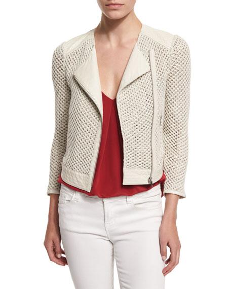 Joie Jaelle Crocheted-Knit Asymmetrical Jacket