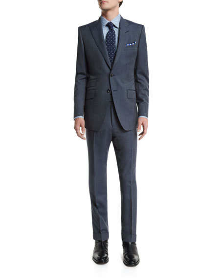 TOM FORDO'Connor Base Peak-Lapel Two-Piece Wool/Silk Reps Suit,