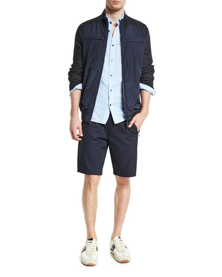 Vince Double-Face Square-Hem Sport Shirt, Light Blue