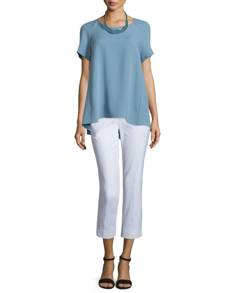 Lafayette 148 New York Kate Short-Sleeve Silk Blouse,