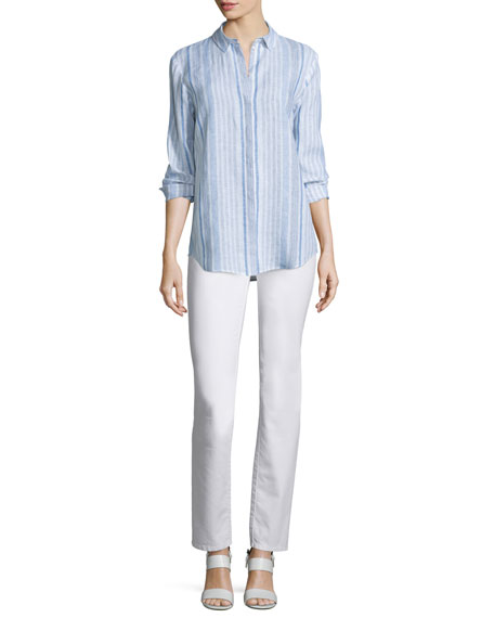 Lafayette 148 New York Sabira Long-Sleeve Striped Linen