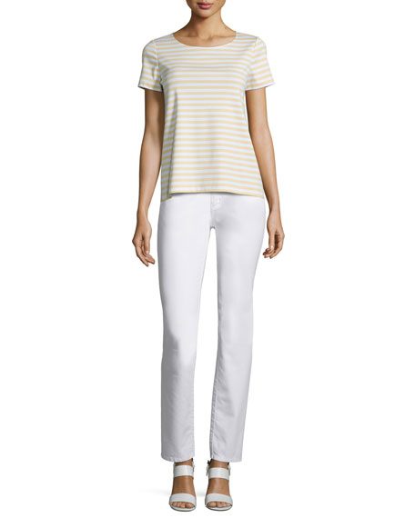 Lafayette 148 New York Short-Sleeve Striped Tee, Citronella/Multi