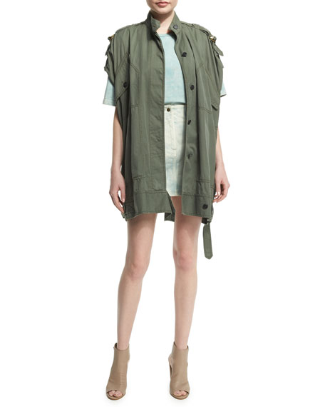 Roberto Cavalli Short-Sleeve Button-Front Utility Jacket, Olive