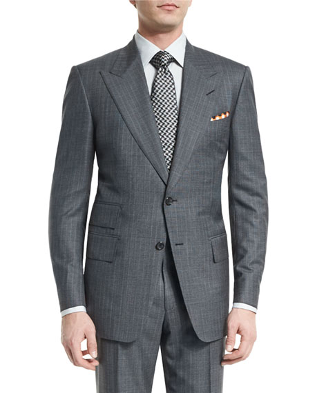 TOM FORDWindsor Base Micro-Pinstripe Suit, Gray