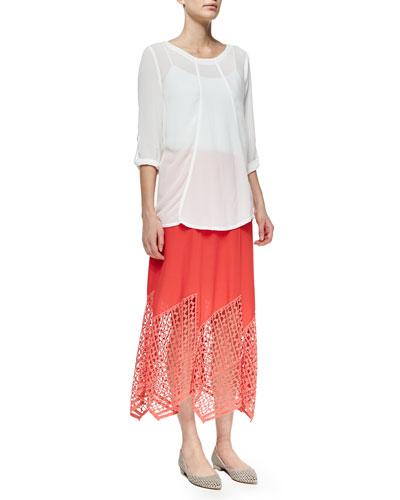 Tabitha Tabbed-Sleeve Georgette Top & Lauryn Midi Lace-Hem Skirt