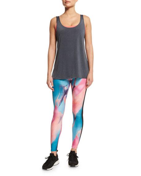 Onzie Tuxedo Printed Athletic Leggings, Chemistry/Black Mesh