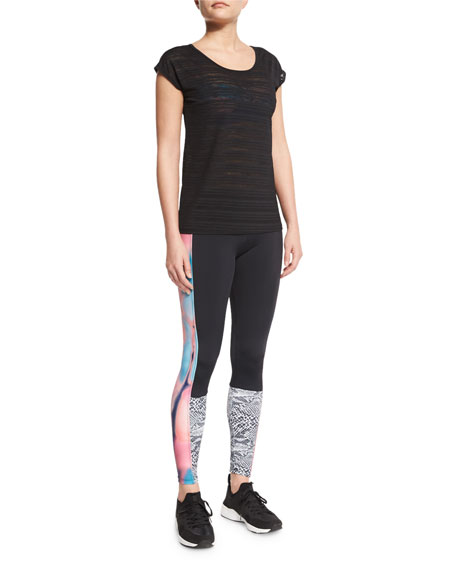 Onzie Block Sport Leggings with Printed Panels, Chemistry/Nocturn