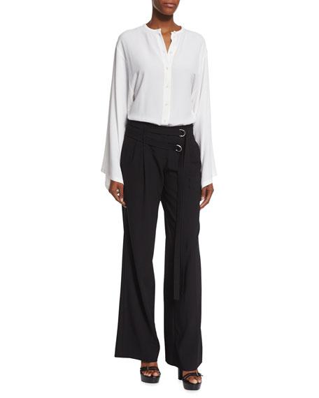 Michael Kors Collection Button-Front Silk Kimono Shirt, White