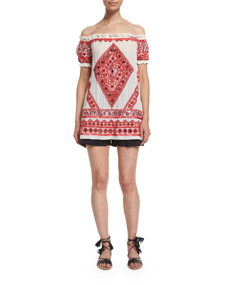 Naeem KhanOff-The-Shoulder Embroidered Peasant Top, White/Red