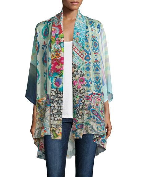 Johnny Was Collection Mixed-Print Tie-Front Silk Kimono, Plus