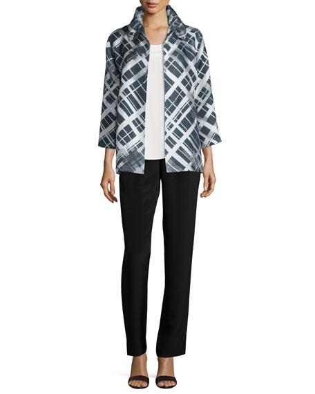 Caroline Rose 24/7 3/4-Sleeve Mid-Length Plaid-Print Jacket