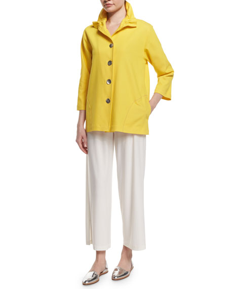 Caroline Rose 3/4-Sleeve Stretch Denim Jacket, Yellow