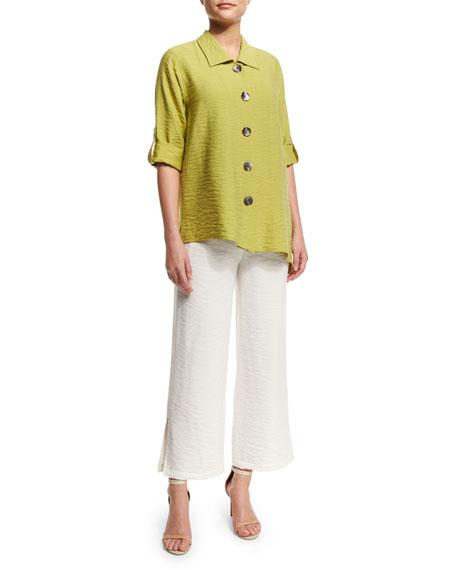 Caroline Rose Cabo Crinkled Mid-Length Shirt, Kiwi