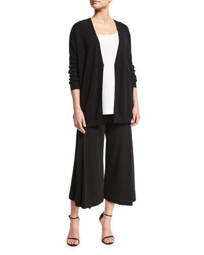 One-Button Relaxed Cotton Cardigan, Scoop-Neck Cotton Interlock Tunic/Tank & Comfortable Pleated Interlock Culottes