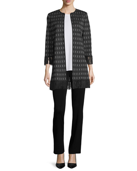 Misook 3/4-Sleeve Lace-Knit Jacket W/ Fringe Trim