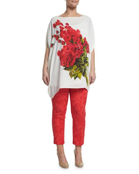 Marina Rinaldi Large Flower Long Blouse, Plus Size