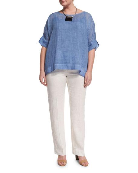 Marina Rinaldi Bernini Short-Sleeve Ramie Shirt, Plus Size