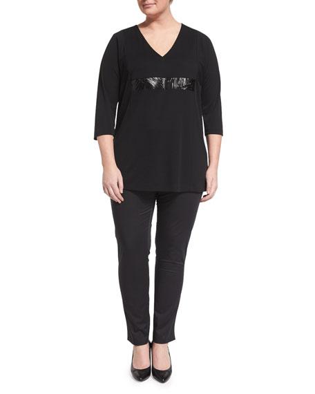 Marina Rinaldi Vento 3/4-Sleeve Jersey Tunic W/ Leatherette