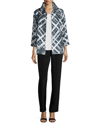 Caroline Rose 3/4-Sleeve Printed Plaid Jacket, Long Silk