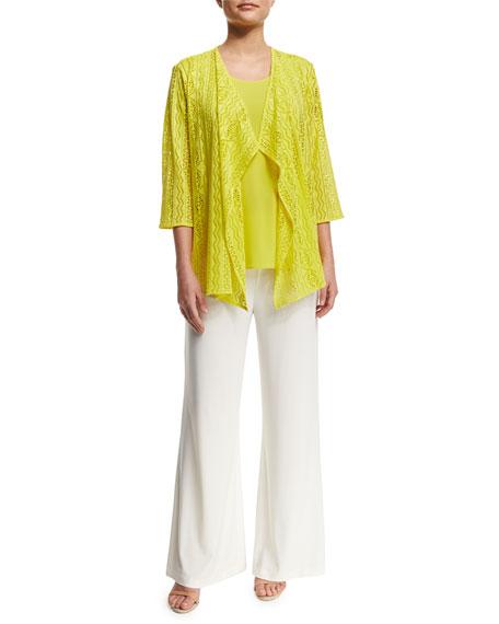Caroline Rose Siesta Mesh Mid-Length Cardigan, Yellow, Plus