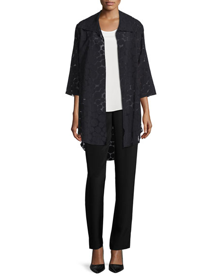Caroline Rose Sheer Dot Long Shirt Jacket, Black, Plus Size
