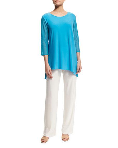 Caroline Rose Mod Mesh-Sleeve Combo Top, Plus Size