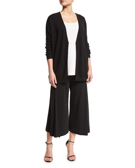 Joan Vass One-Button Relaxed Cotton Cardigan, Black, Plus