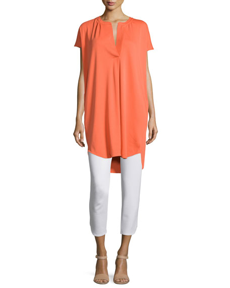 Joan Vass Split-Neck High-Low Cotton Tunic, Guava, Women's