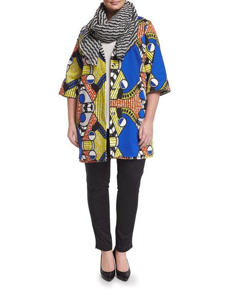 Marina Rinaldi Fila Half-Sleeve Bold-Print Jacket, Plus Size