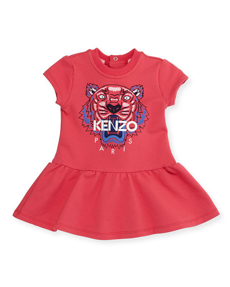 Kenzo Cap-Sleeve Tiger Fit-and-Flare Sweat Dress, Fuchsia, Size