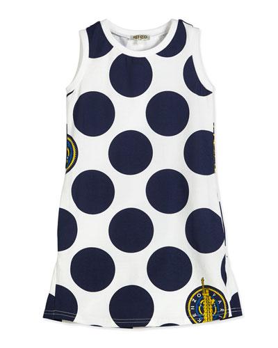 Kenzo Sleeveless Polka-Dot Shift Dress, White/Blue
