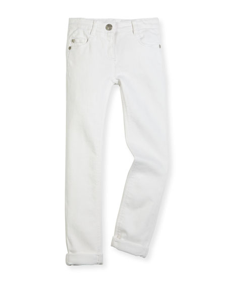 Kenzo Tiger-Embroidered Slim-Fit Stretch Jeans, White, Size 14-16