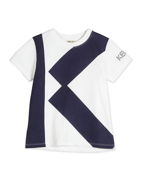 Kenzo Short-Sleeve Cotton K-Logo Jersey Tee, White, Size