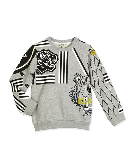 Kenzo Printed Terry-Lined Cotton Logo Sweatshirt, Gray, Size