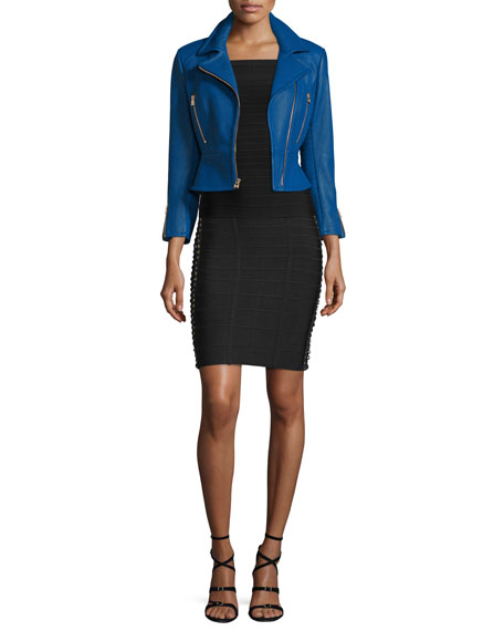 Herve Leger Zip-Front Leather Biker Jacket, Blue Sapphire