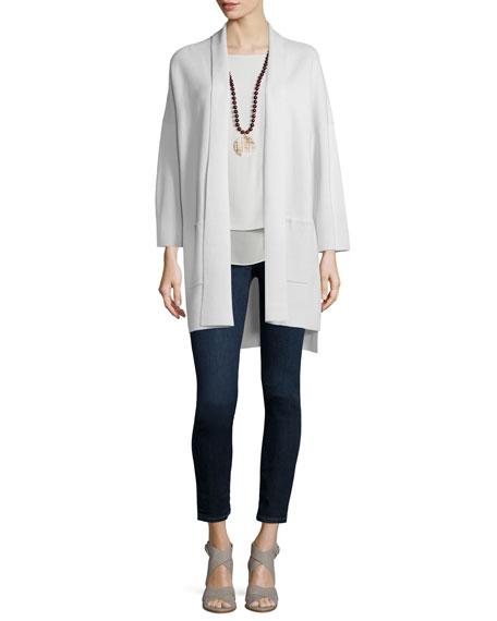 Eileen Fisher Kimono Silk Cotton Interlock Jacket, Bone