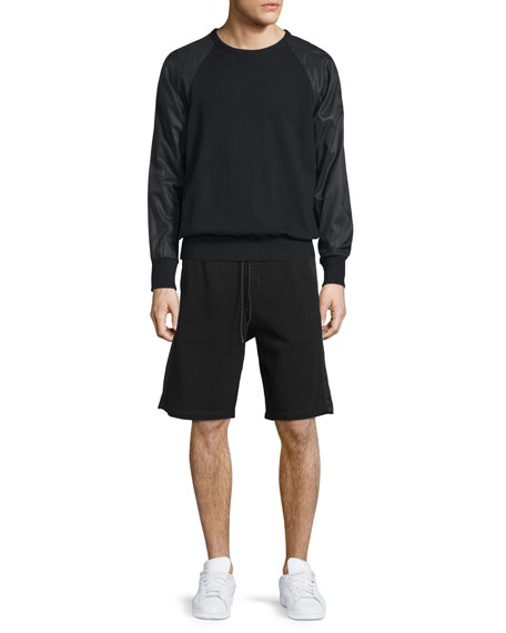 Rag & Bone Flint Mixed-Media Crewneck Sweatshirt, Black
